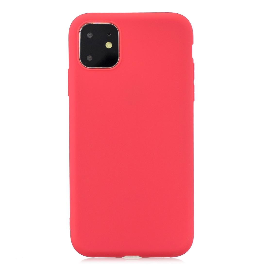 Matný silikonový obal na iPhone 11 - červená