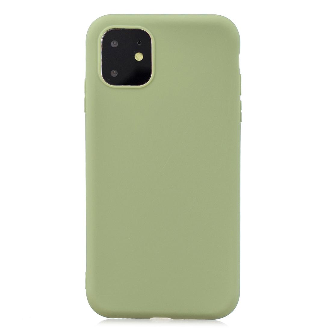 Matný silikonový obal na iPhone 11 - hráškově zelená
