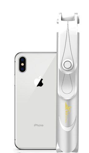 Selfie tyč se stojánkem na mobil - bílá